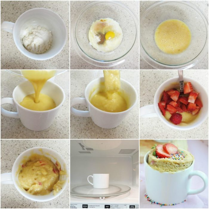 Strawberry Shortcake in a Mug step by step