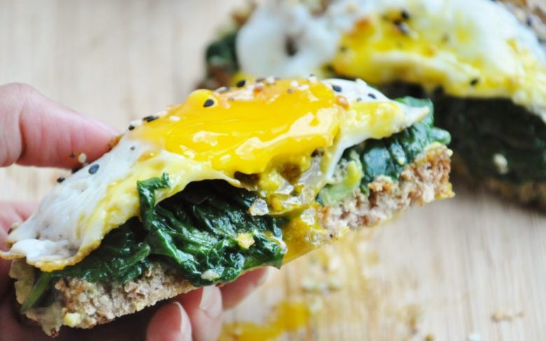 Avocado Toast with Spinach & Egg (healthy, dairy-free, whole wheat, GF option)