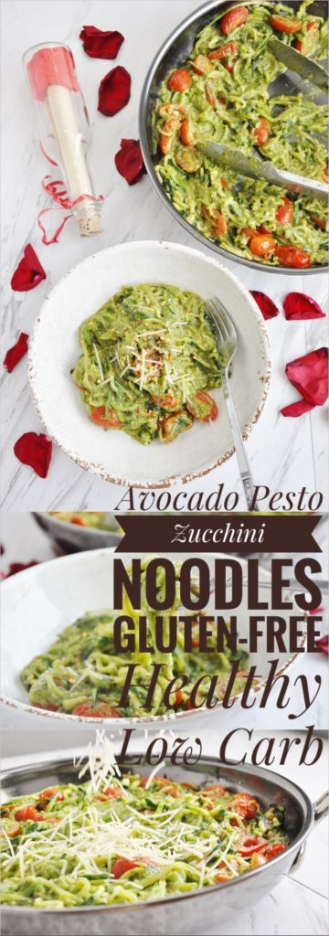 Avocado Pesto Zucchini Noodles (gluten-free, healthy, low carb)