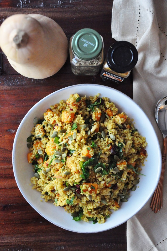Curry Roasted Butternut Squash Quinoa Salad (gluten-free, dairy-free, vegan option, healthy)