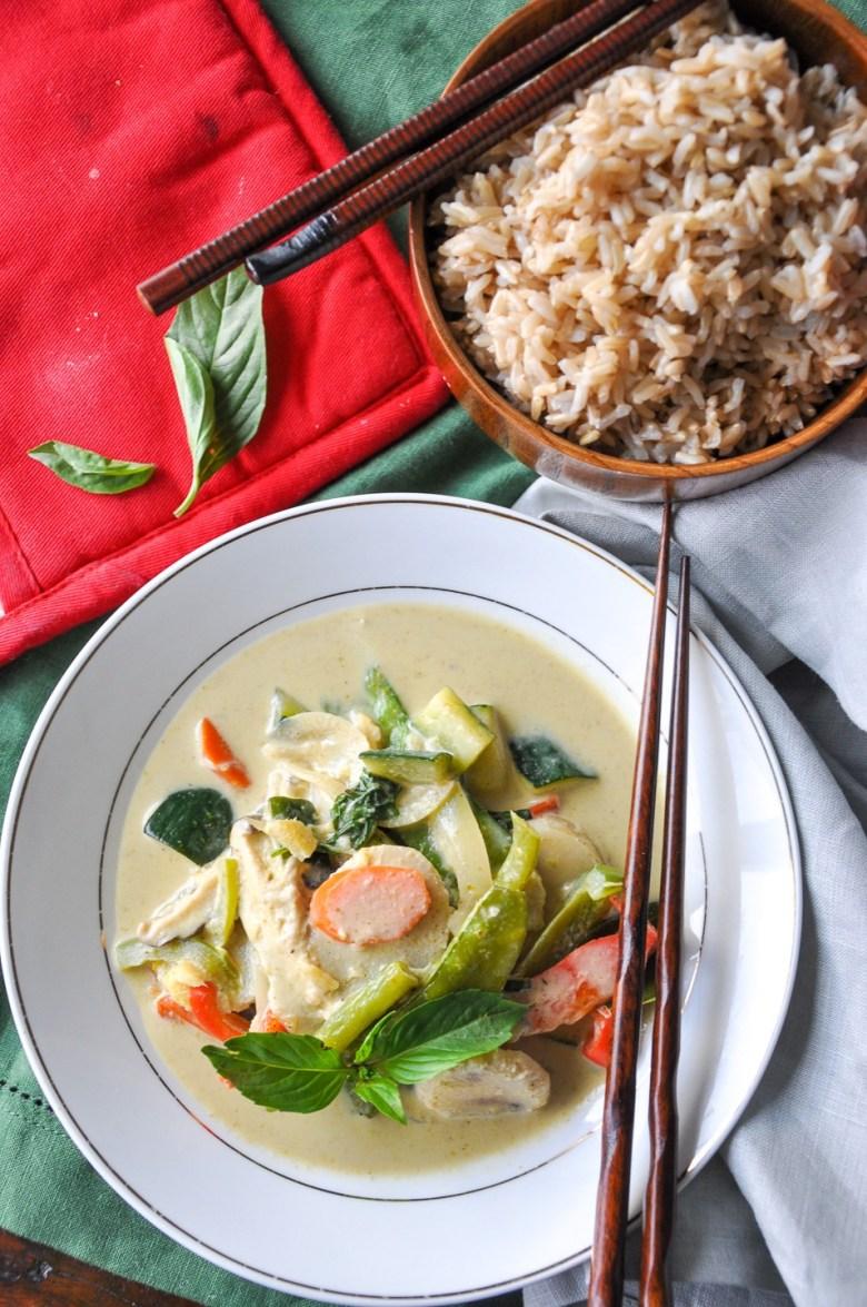 Vegetable Thai Green Curry (paleo, gluten-free, dairy-free, vegan option)