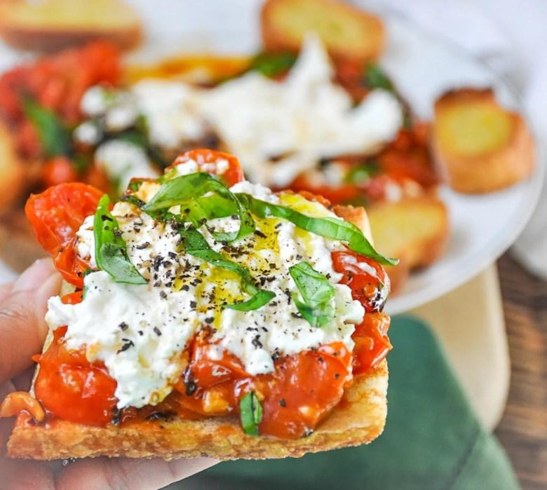 Burrata Caprese Crostini with Sauteed Cherry Tomatoes