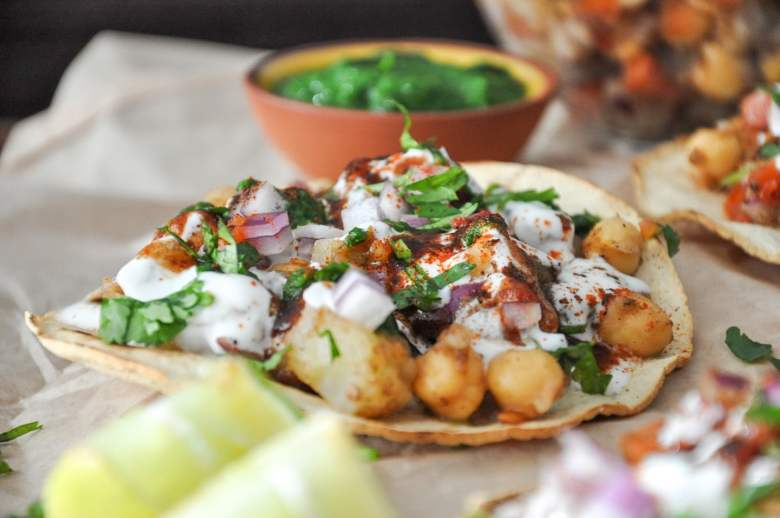 Baked Aloo Chaat Tostadas (healthy, gluten-free, vegan option)