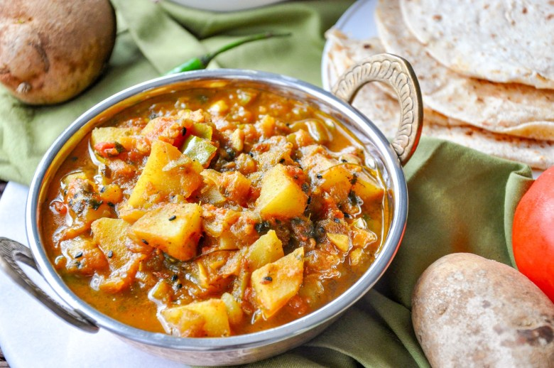 Aloo Shimla Mirch Tamatar Ki Subzi (vegan, gluten-free)