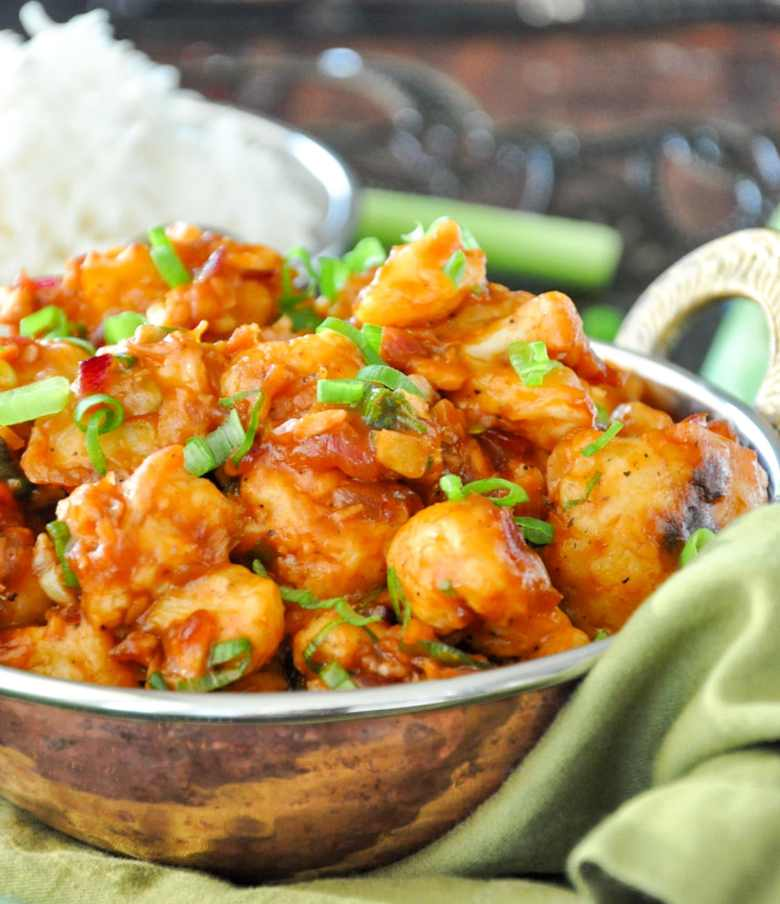 Baked Gobi Manchurian (vegan, gluten-free option)