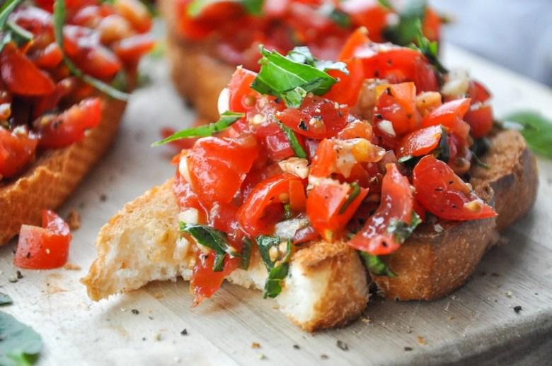 Tomato Basil Bruschetta (vegan, gluten-free option)