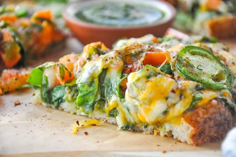 Spinach Chutney Cheese Toastie (vegetarian, gf option)