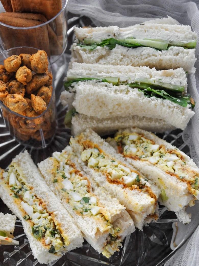 Summer Afternoon Tea Sandwiches (egg salad chutney, watercress cucumber, jam cheese)