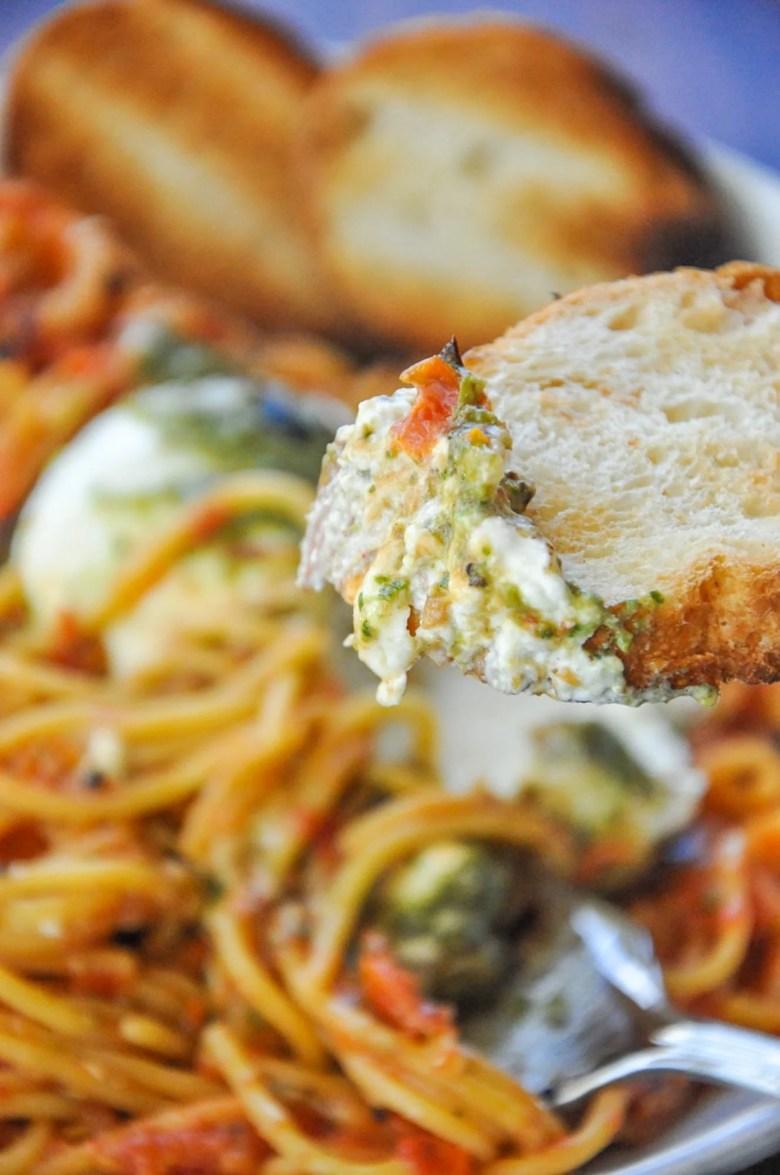 Roasted Tomatoes Burrata Pasta with Pesto (vegetarian, gf option)