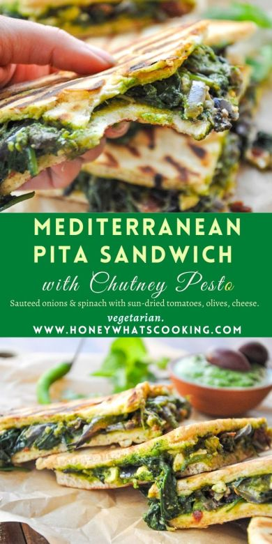 Mediterranean Pita Sandwich with Chutney Pesto - pitasandwich, chutneypesto