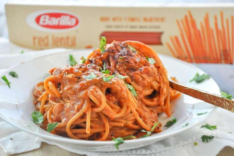 Barilla Red Lentil Spaghetti Creamy Masala Pasta