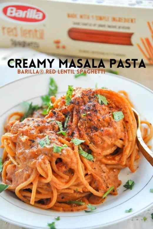 Creamy Masala Pasta @BarillaUS @Walmart #veganpasta #glutenfreepasta #masalapasta