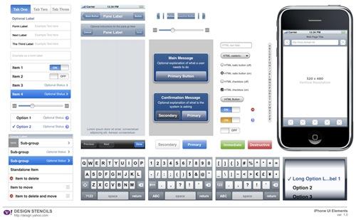 iphone ui Yahoo! Design Stencil Kit For Designers