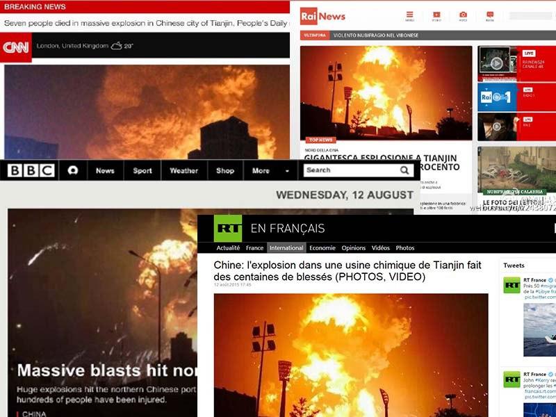 Tianjin explosion international headlines