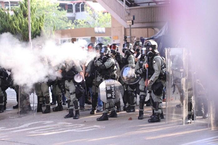 Tuen Mun September 21 protest rally tear gas police