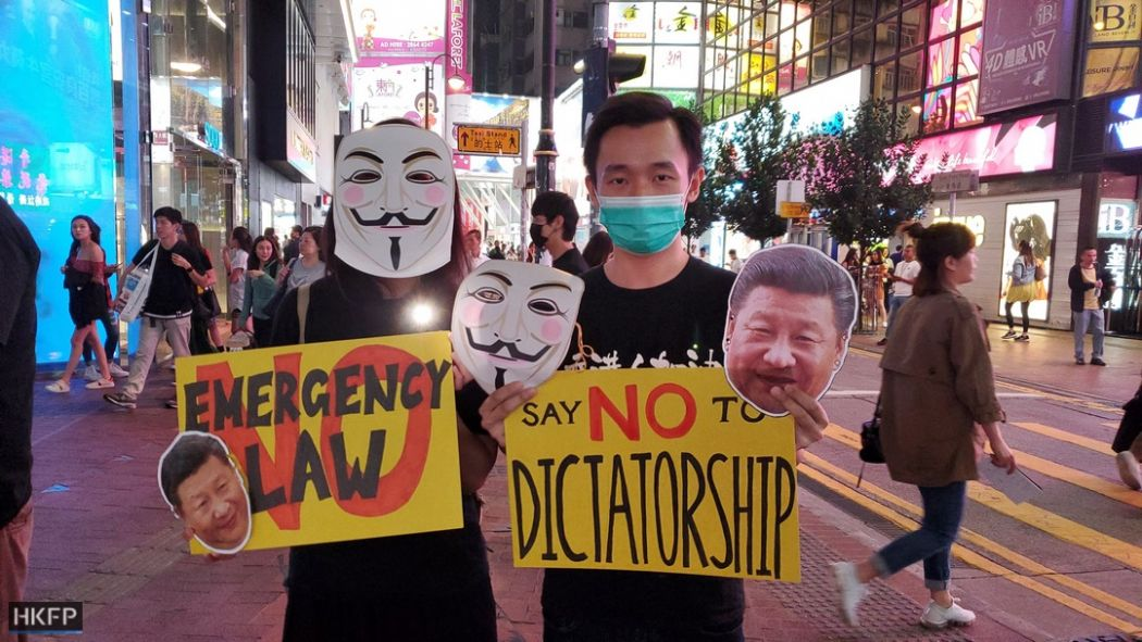 October 18 anti-mask human chain causeway bay