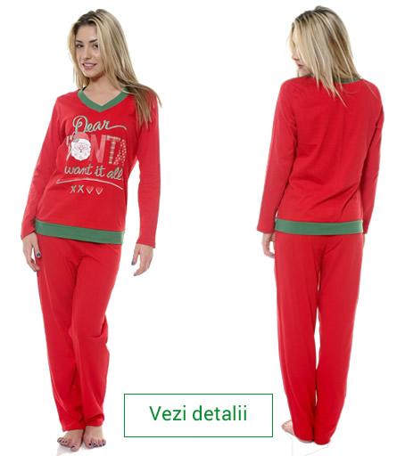 Pijamale de dama cu Mos Craciun