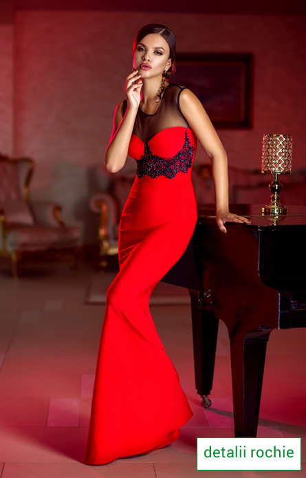 rochie de revelion rosie lunga