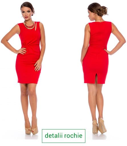 rochie cu crapatura, culoarea rosie