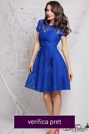 rochie albastru electric din dantela