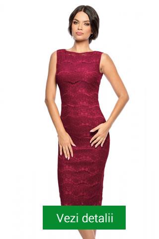 rochie din dantela marsala treisferturi
