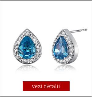 cercei de argint cu cristale albastre, cu surub