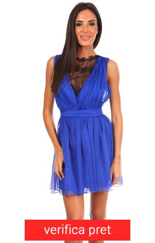 Rochie albastra din voal cu dantela