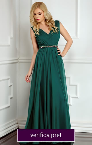 Rochie lunga verde din voal