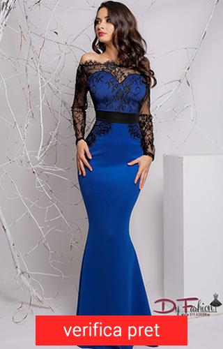 rochie bleumarin lunga cu dantela