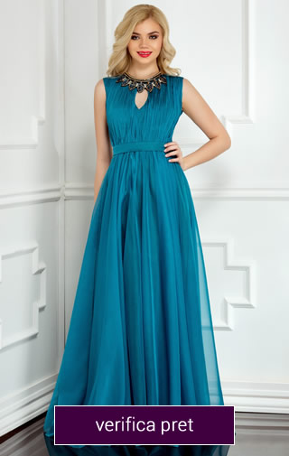 rochie de ocazie lunga culoarea albastra