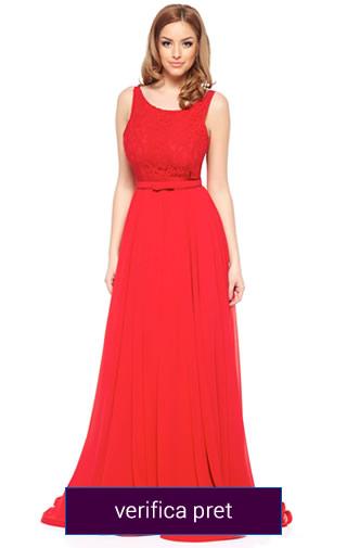 Rochie lunga culoarea rosie creata de Ana Radu
