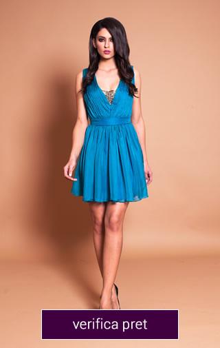rochie scurta albastra din material vaporos