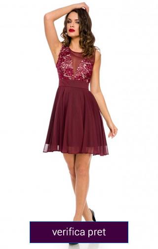 rochie scurta domnisoara de onoare culoarea visinie