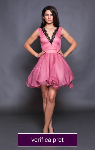 rochie scurta roza cu dantela neagra. material vaporos