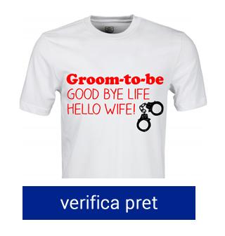 tricou pentru petrecerea burlacilor good bye life hello wife