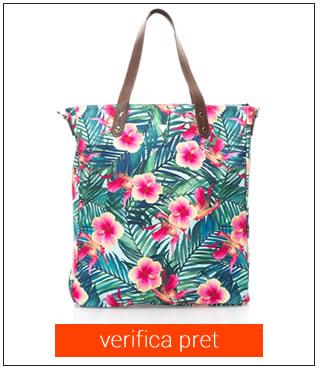 geanta de plaja cu flori GUESS