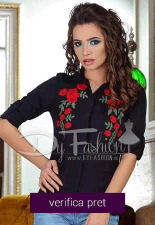 Camasa black red rose