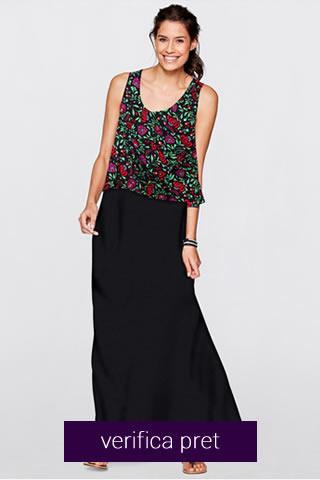Rochie lunga neagra cu imprimeu floral