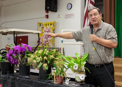 Bob Moffitt commented on the plants that were brought to the meeting by the members.  It was announced that Bob was recently elevated as an Accredited Judge of the American Orchid Society.  Congratulations Bob.