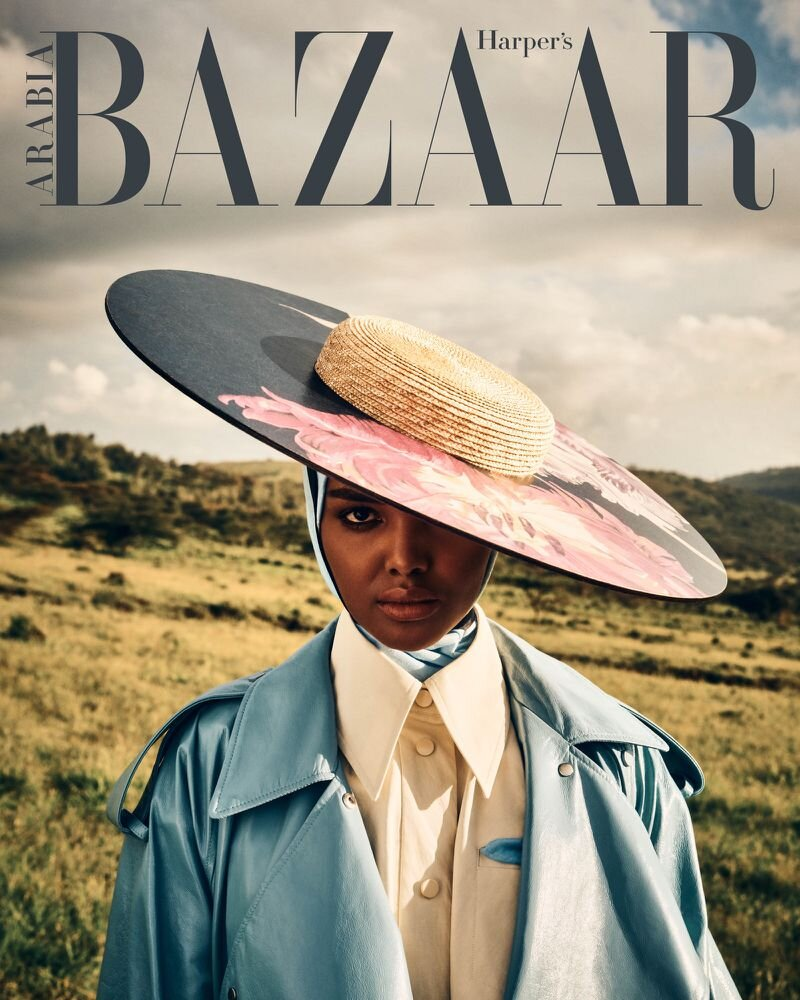 Halima Aden for Harper's Bazaar Arabia's February 2020 cover story. Photographed by Yulia Gorbachenko and styled by Anna Castan.