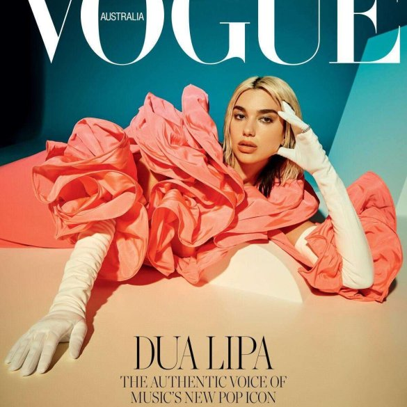 Dua Lipa covers the April 2020 issue of Vogue Australia. Photographed by Charlie Dennington.