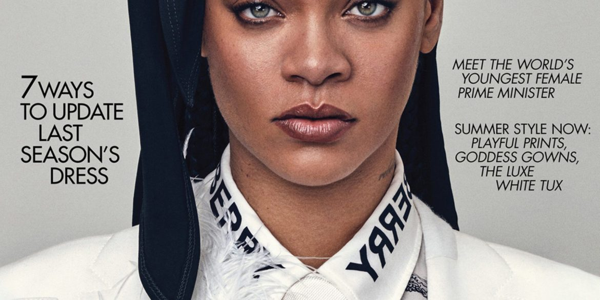 Rihanna covers the May 2020 issue of British Vogue. Photographed by Steven Klein and styled by Edward Enninful.