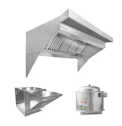 hoodmart low ceiling sloped front restaurant hood system w psp makeup air 11 x 48