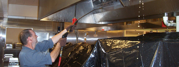 cleaning a kitchen exhaust system in steps