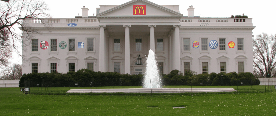 This is a mockup of what the White House will look like after corporate sponsorships begin.