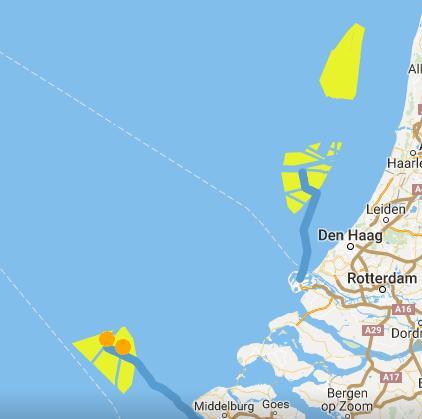 Beraamde kavels voor wind op zee, volgens netopzee.eu van Tennet