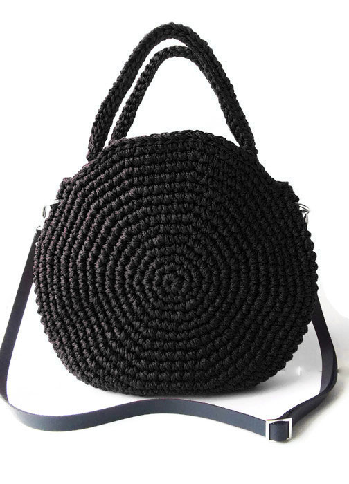 fullcircle round handbag in black top handle