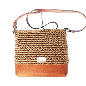 neutral cork leather bag in beige caramel light brown