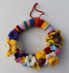 Crochet Spring Wreaths-Crocheted Spring Wreath