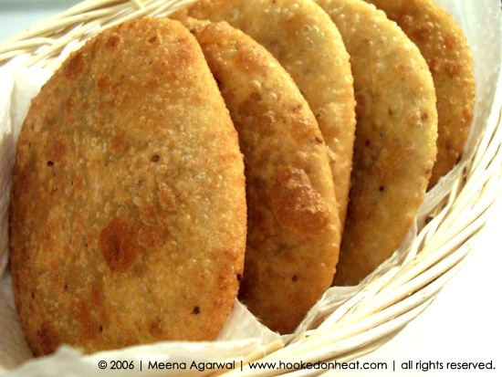 Recipe for Dal Kachoris taken from www.hookedonheat.com. Visit site for detailed recipe.